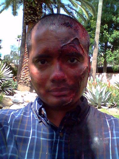 Awesome special effects make-up work that was applied to me on set today.