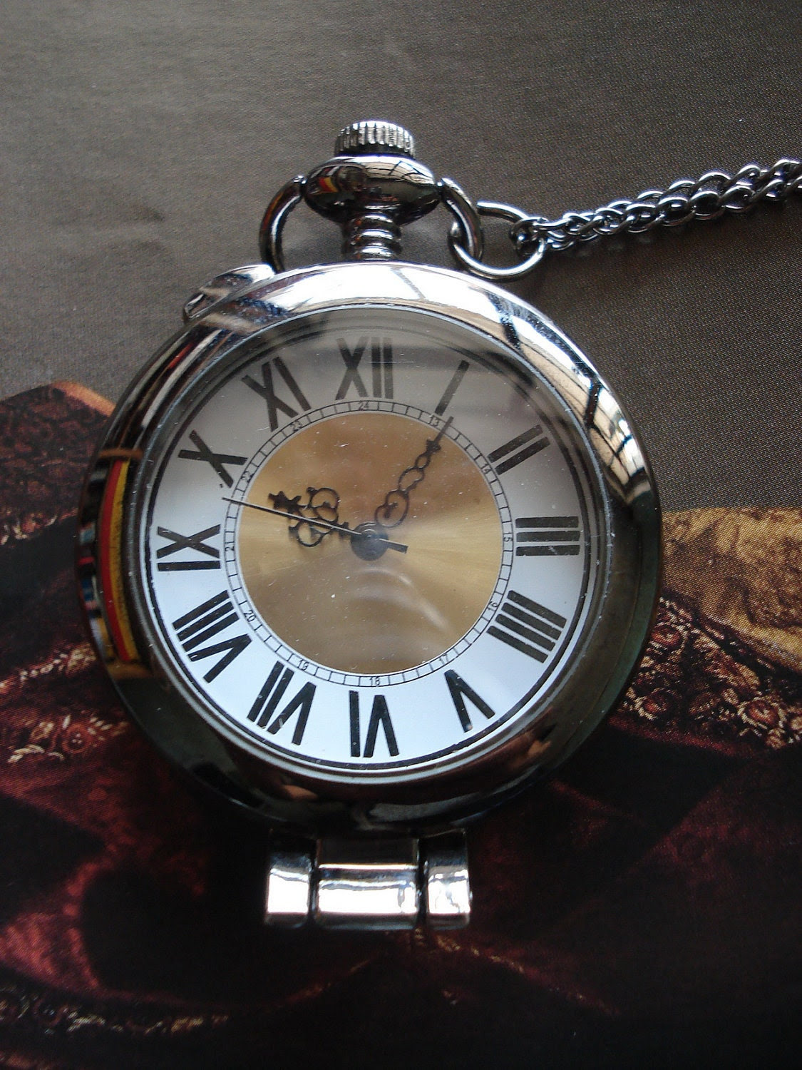 20% HOLIDAY SALE Necklace Pendant Roman Number Pocket Watch quartz Gift Chain G104