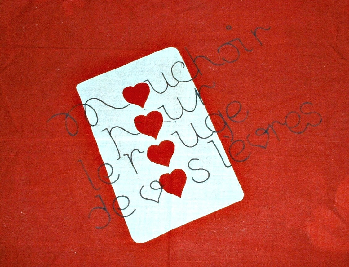Vintage Hankie Red Lips Hearts French Handkerchief Hanky Valentine's Day - ClassicMemories
