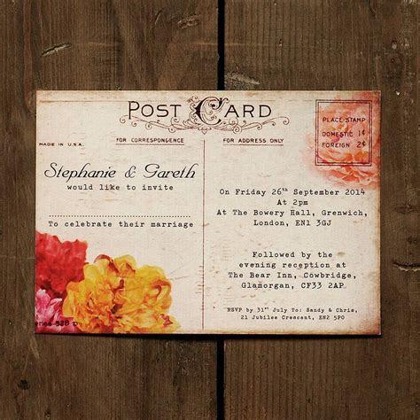 Floral Vintage Postcard Wedding Invitation   Weddings