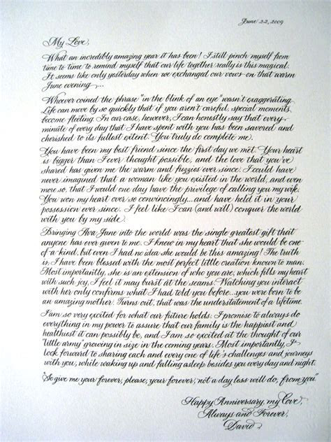 A Place for Lettering: Anniversary Love Letter in Calligraphy