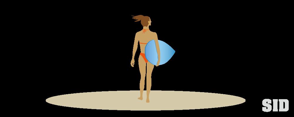 女性サーファーのイラスト 無料配布南国イラスト Ai Epsイラレ素材