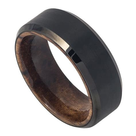 mm men tungsten wedding band ring black ip plated brushed