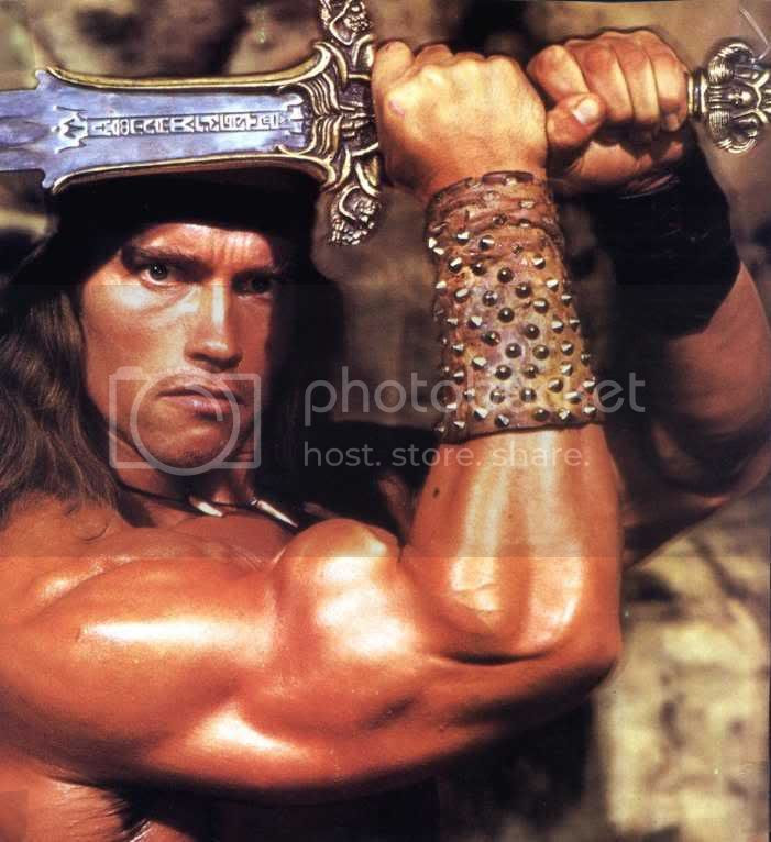 Arnold Schwarzenegger was Conan in a 1982 movie.:)