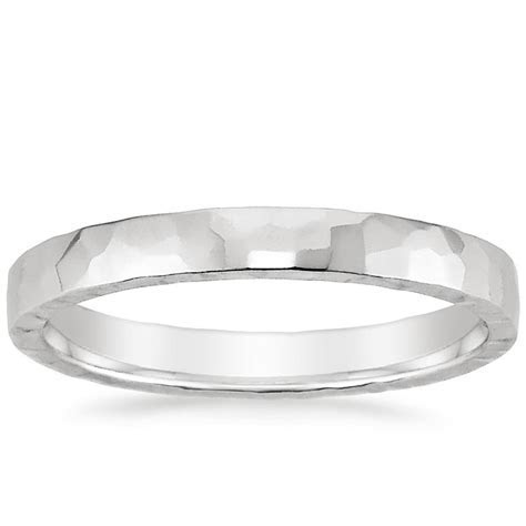 2.5mm Hammered Quattro Wedding Ring in 18K White Gold