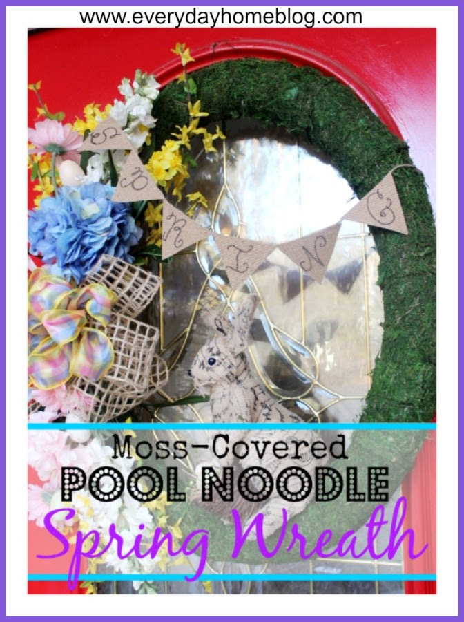 Moss Covered Pool Noodle Spring Wreath by The Everyday Home #Michaels #DollarTree #DollarStore #Spring #SpringCrafts