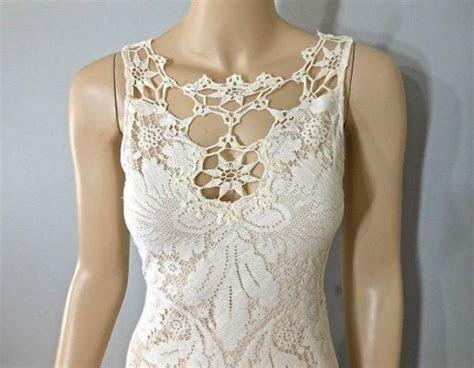 Vintage Style Bohemian WEDDING Dress Crochet Ivory LACE