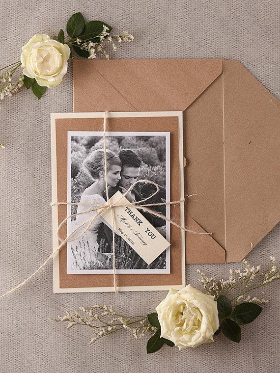 Wedding Thank You Card Rustic Thank You Cards Personalised