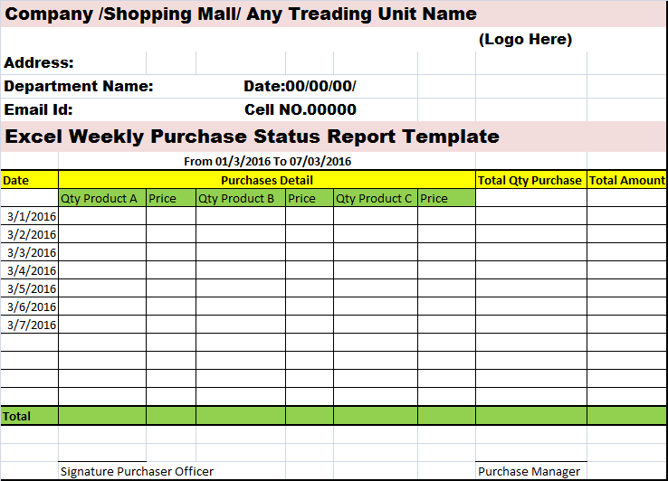 Excel Weekly Purchases Status Report Format – Free Report Templates