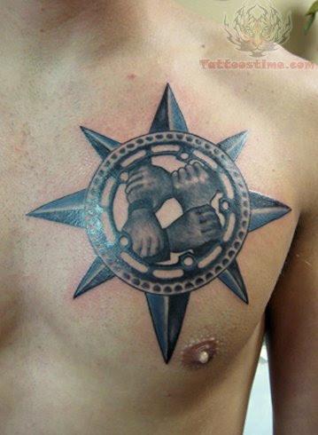 Compass Tattoo On Men Chest