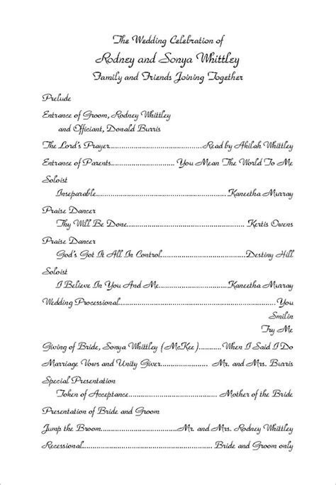 Wedding Ceremony Program Template   madinbelgrade