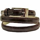 Luxury Divas Brown Skinny Faux Patent Leather Belt