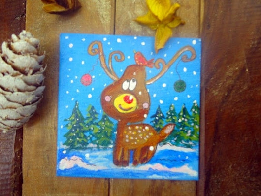 SALE  SALE Christmas ReindeerdeerRudolph by WatercolourbyCharu