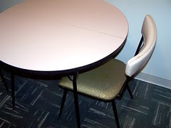 pink formica table & chair