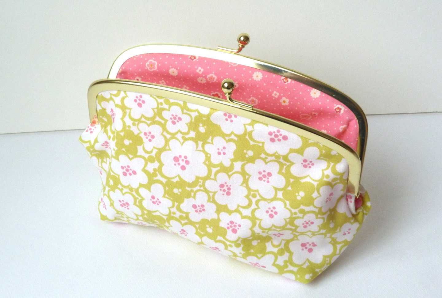 Green and Pink Graphic Floral Print Cosmetic Bag by cheekyleopard