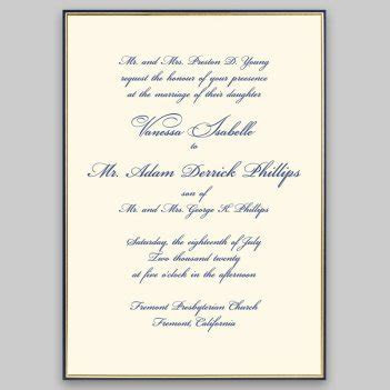 Gold and Navy Minuet Invitation   Personalized Wedding