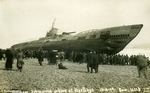 Haunting pictures show U-boat washed onto beach after WWI as it sailed
