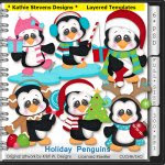 Holiday Penguins Layered Templates - CU