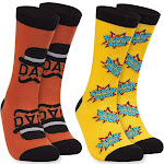 """Toe-tally Sox Men Crew Sock – 2 Pair Father's Day Casual Socks """"Super Dad"""" and Mustache Look Print, Size US 6-11"""