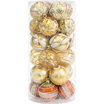 Best Choice Products Set of 24 60mm Shatterproof Christmas Ball Ornaments Hanging Holiday Pendant Decoration w/ Embossed Glitter Design - Gold