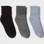 Women's 3pk Mary Jane Fold Over Cuff Crew Socks - A New Day Gray Heather One Size, Gray Grey