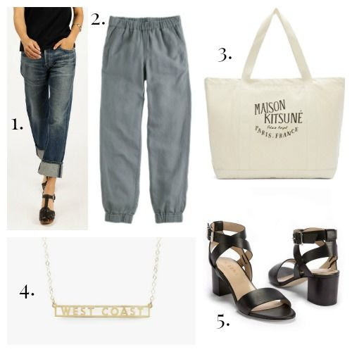 Citizens of Humanity Jeans - J.Crew Pants - Maison Kitsune Tote - Seoul Little Necklace - M.Gemi Sandals
