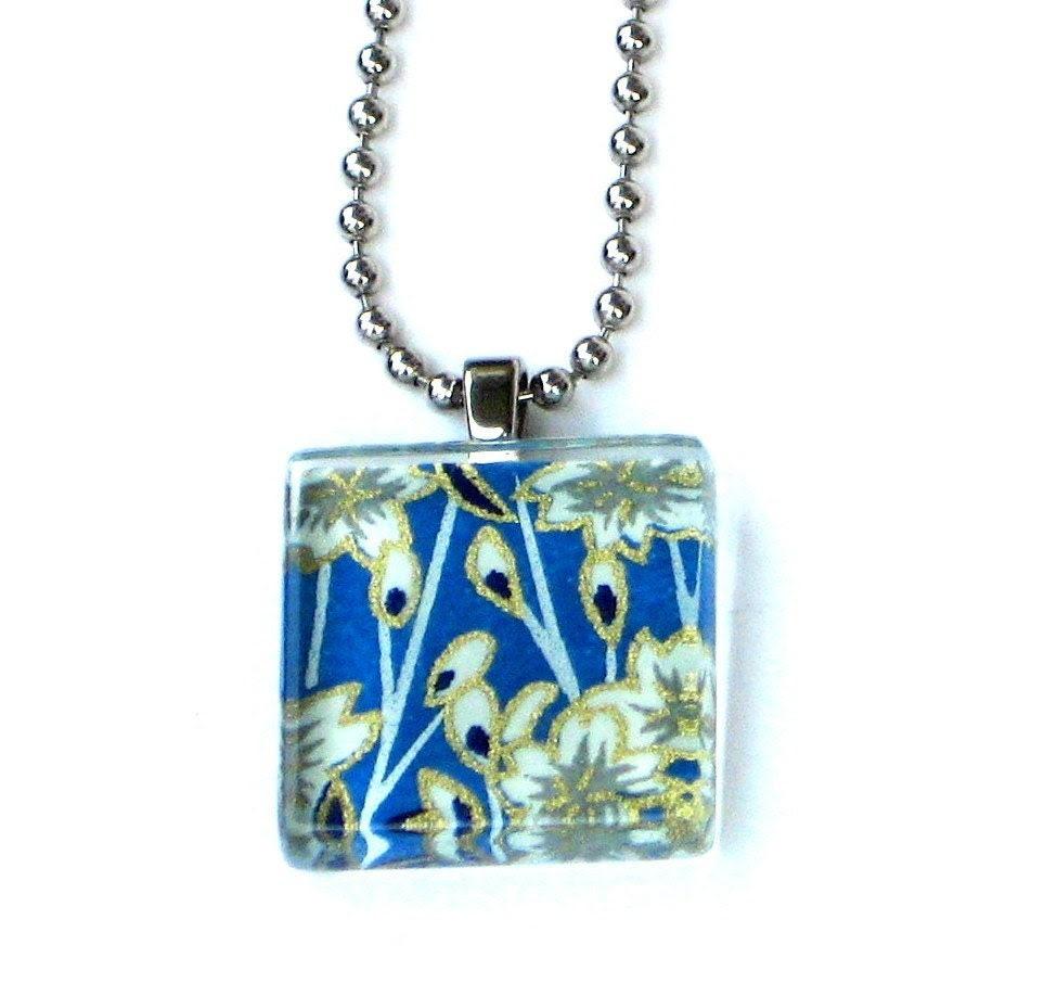 something borrowed.... mini glass tile pendant necklace