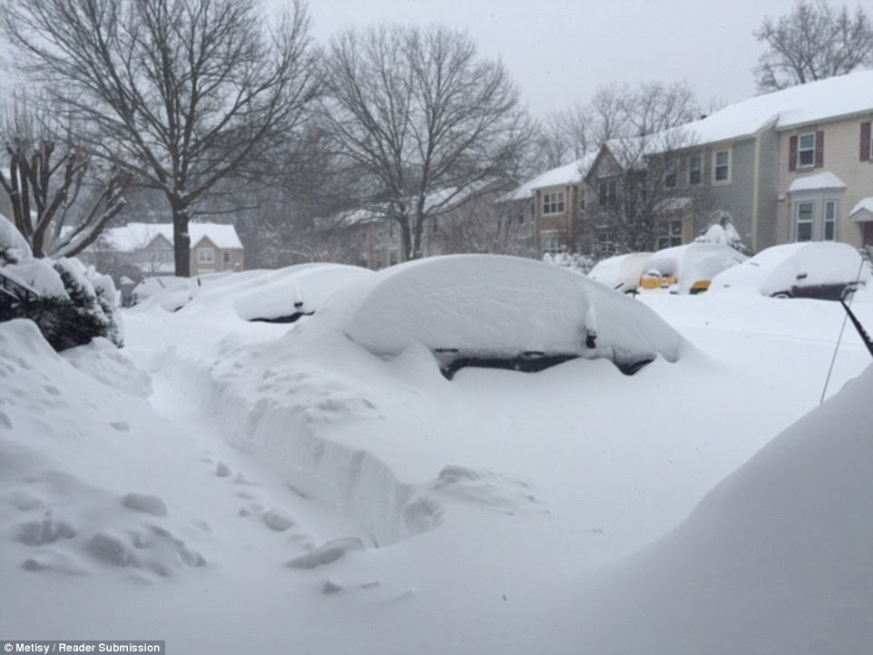 Cars were pictured almost completely buried underneath the snow in Maryland today as snow continues to fall across ten states