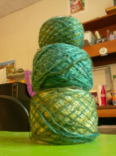Handspun silk singles yarn lace fingering weight green balls