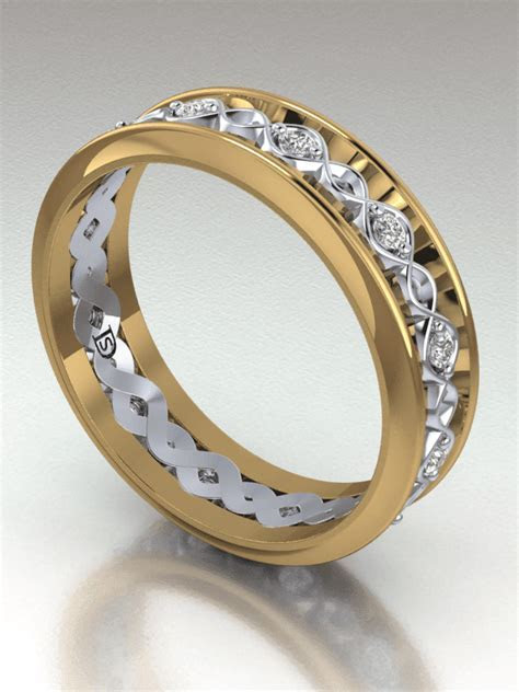 Crossed Wave Two Tone Wedding Ring   Two Tone Wedding Band