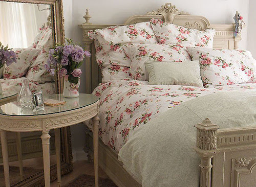 bed, cute, flowers, french style, interior, pretty