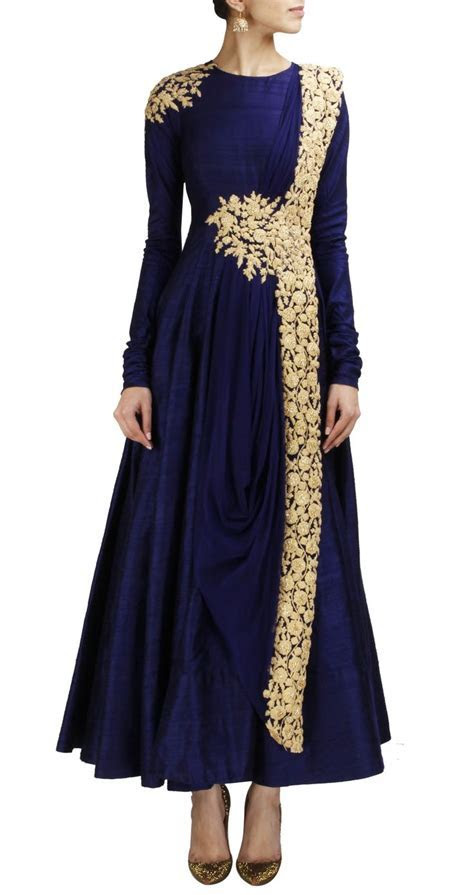 RIDHI MEHRA Navy blue anarkali with gold embroidery www