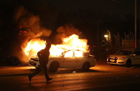 St. Louis County police vehicle in flames