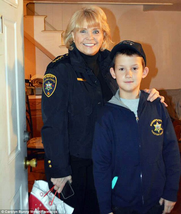 Chester County, Pennsylvania, Sheriff Carolyn Bunny Welsh picked little Alex up and took him to the airport in Philadelphia for his hunting trip