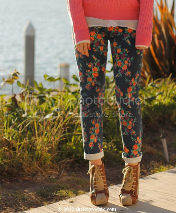 cable knit sweater, Mossimo blue floral jeans, Target floral denim, Topshop ankle boots, Los Angeles fashion blog