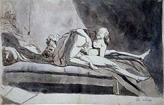 Füssli - Symplegma eines Mannes und einer Frau mit helfender Dienerin