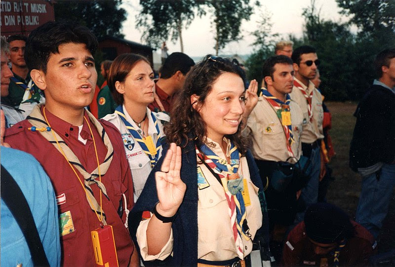 Scouts and Guides from different countries on World Scout Moot, Sweden, 1996 (Image courtesy of Wikipedia).