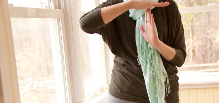 time out hands t green turquoise scarf