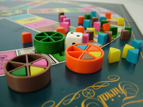 A photograph of the game Trivial Pursuit.