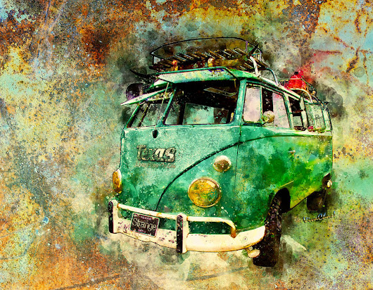 Beachy Rat Rod Surf Bus Watercolour by Chas Sinklier