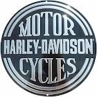 Harley-Davidson Embossed H-D Platinum Disc Round Tin Sign, Black
