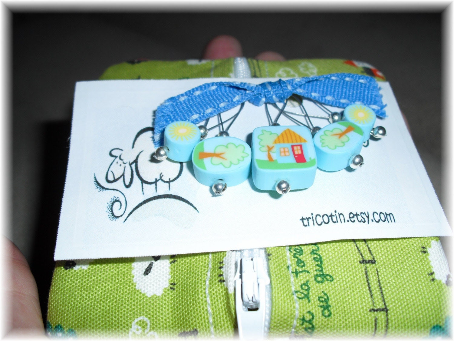 5 stitch markers and little pocket