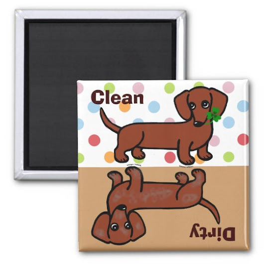 Red Smooth Dachshund 2 Dirty / Clean Magnet
