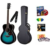 Yamaha FS720S Cobalt Aqua Small Body Folk Acoustic Guitar Bundle with Instructional DVD, Picks, Strap, Strings...