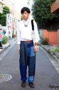 Harajuku Guy's Fabrics Interseason Patchwork Pants & Wing Collar Dress Shirt