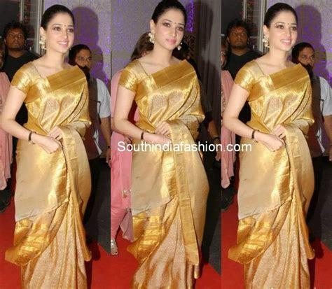 Tamanna in Gold Bridal Saree ? South India Fashion
