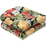 Pillow Perfect Outdoor Clemens Noir Wicker Seat Cushion (Set Black