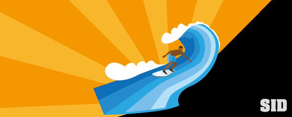 サーフィンのポップなイラスト 無料配布南国イラスト Ai Epsイラレ
