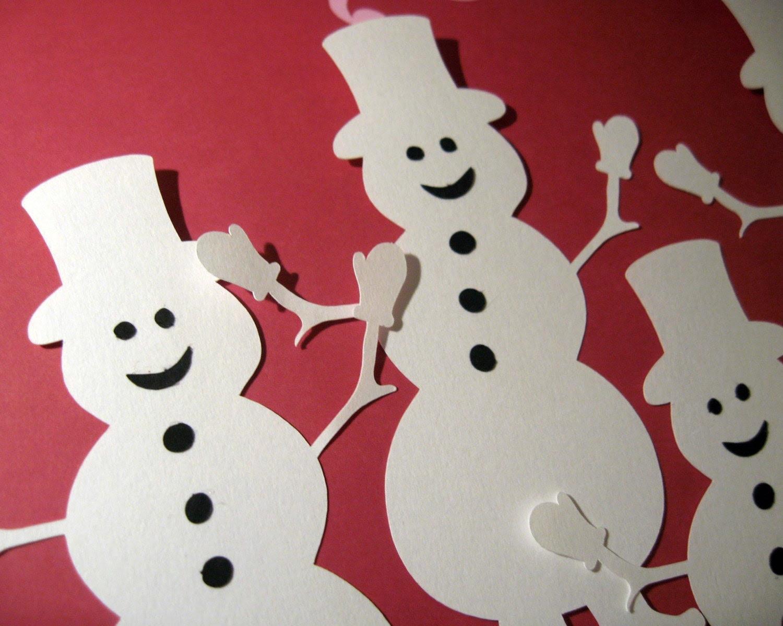 Set of 4 Snowmen Die Cuts 5 Inches