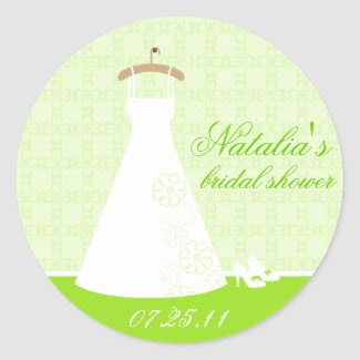 {TBA} Wedding Dress Bridal Shower Sticker (green) sticker